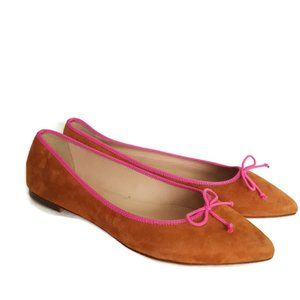 J Crew pointy toe suede ballet flat with pink bow